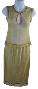 Prada Prada Gold Lurex Embroidered Sleeveless Top Straight Skirt Suit Set Sz 40