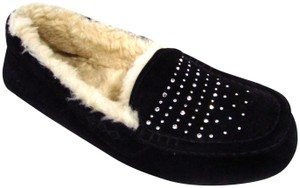 UGG Australia Suede Shearling Warm Casual Bling Black Flats