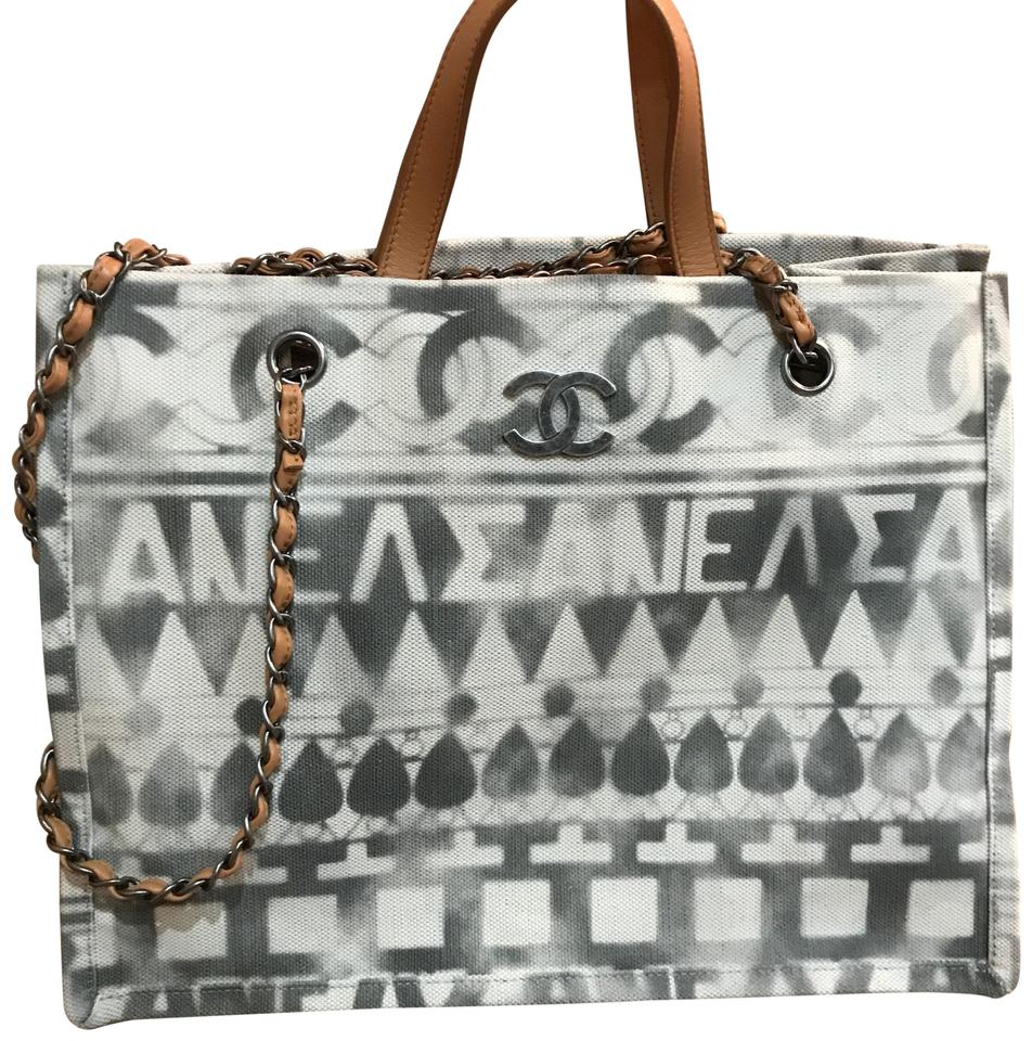 5c734ce9d412 Chanel Shopping Tote 2018 Iliad Beige Printed Toile and Leather Tote ...