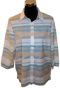 Alfred Dunner Button Down Shirt Beach Colors