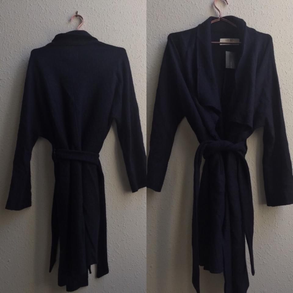 13f0bd858aea2 Zara Navy Blue Wool Blend Draped Belted Long Wrap Coat Size 8 (M ...