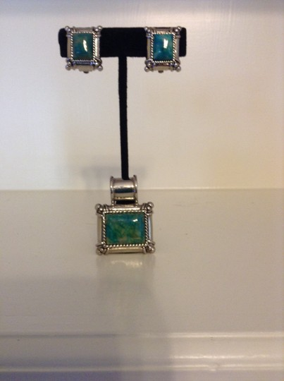 Other Silver And Turquoise Earrings And Necklace Pendent Set