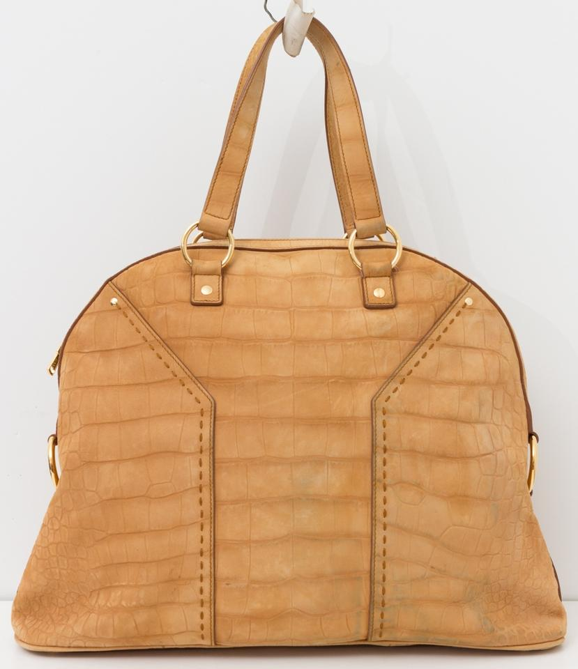 112c0a6d05 Saint Laurent Muse Yves Ysl Croc Embossed Dome Extra Large Tan Suede  Leather Tote