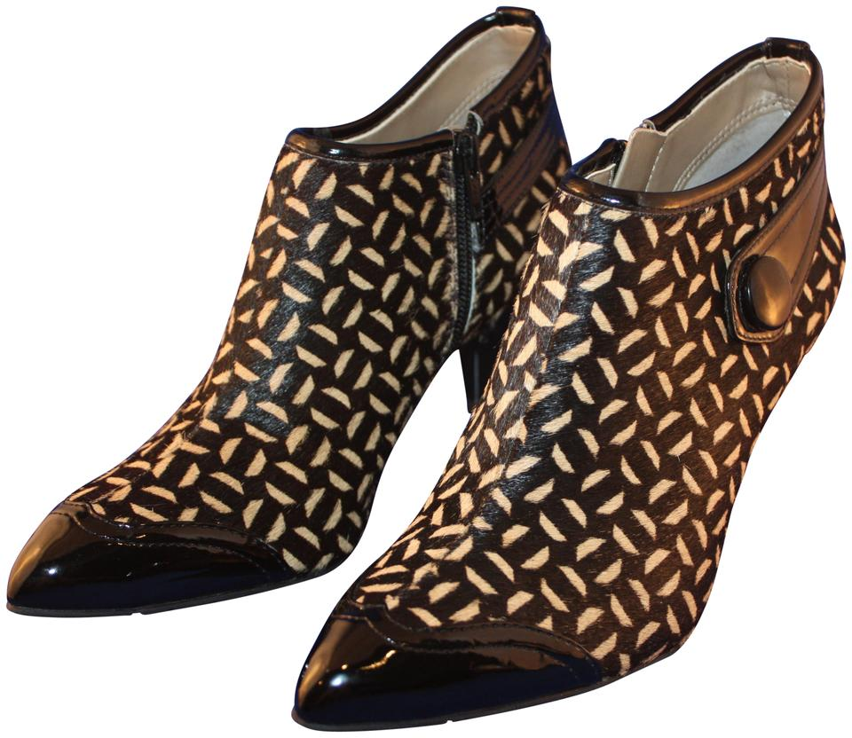 d2f96903d31b Franco Sarto Pony Patent Leather Ankle Calf Pointed Toe black beige leopard  Boots Image 0 ...