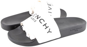 Givenchy Logo Rubber Slides Black White Shoes
