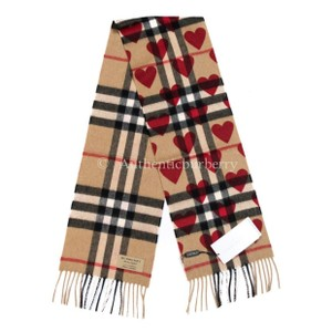 Burberry Burberry Girls' Cashmere Heart‑Print Check Scarf, Tan/R.