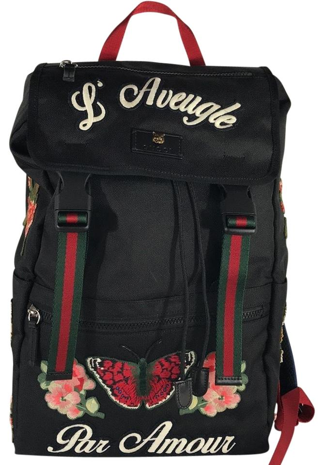afdd39c959a Gucci Black Embroidered Backpack - Tradesy