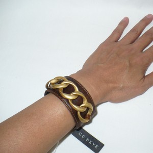 CC SKYE Genuine Leather Cuff & Matte Gold Curb LInk Chain Detail