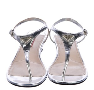Prada Strappy Hardware Metallic Logo Ankle Strap Silver Sandals