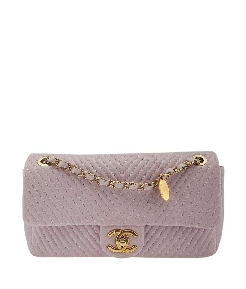 8b3e473d4c7649 Chanel Chevron Quilted (138723) Pink Lambskin Leather Shoulder Bag ...