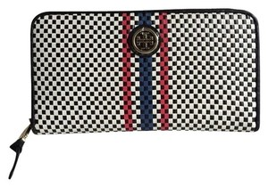Tory Burch Tory Burch Jane Continental Black & White Woven Leather Wallet