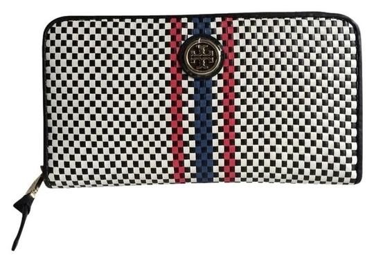 Preload https://img-static.tradesy.com/item/2239973/tory-burch-black-and-white-jane-continental-woven-leather-wallet-0-2-540-540.jpg