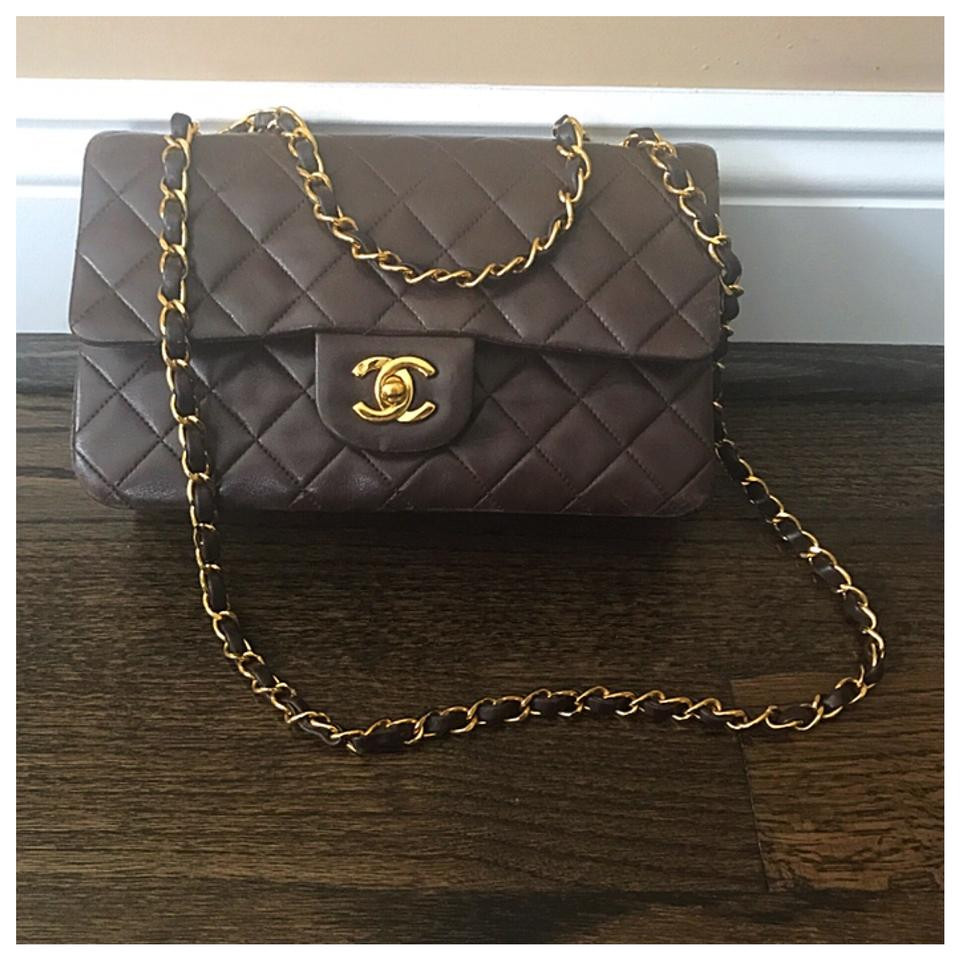 8fc32b09 Chanel Double Flap Quilted Small Classic Dark Brown Lambskin Leather ...