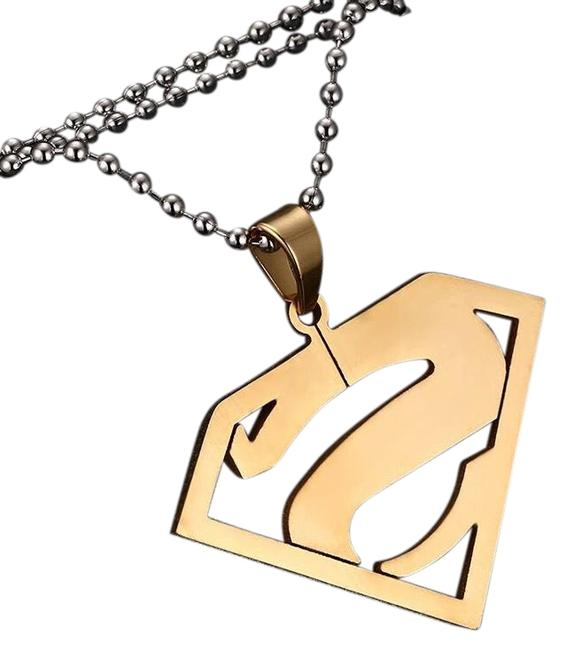 Item - Plated Stainless Steel Superman Letter S Men/Women Necklace