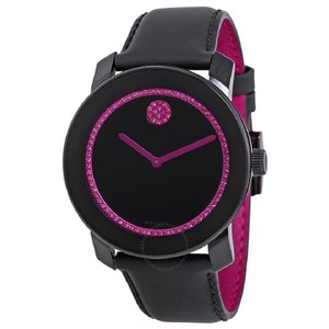 Movado $500 NWT Bold 42 Special Edition BCRF Pink and Black Leather 3600184