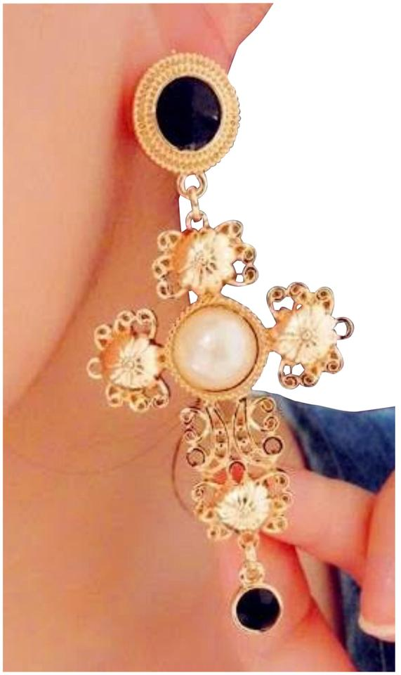 Large Cross Earrings Gold Pearl Hollowed Out Baroque Dangle Drop
