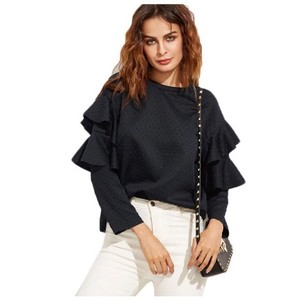 Other Bubble Textured Ruffle Top Navy Blue