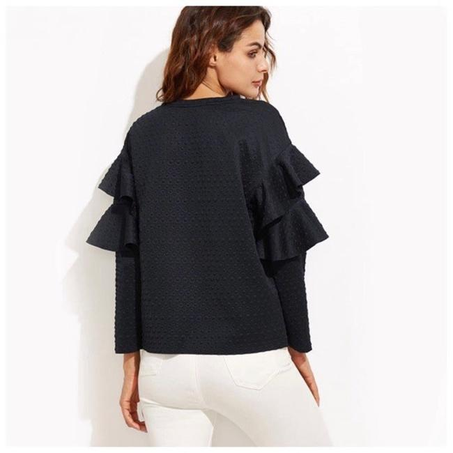 Other Bubble Textured Ruffle Top Navy Blue Image 1