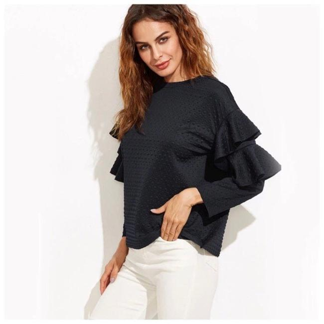 Other Bubble Textured Ruffle Top Navy Blue Image 2