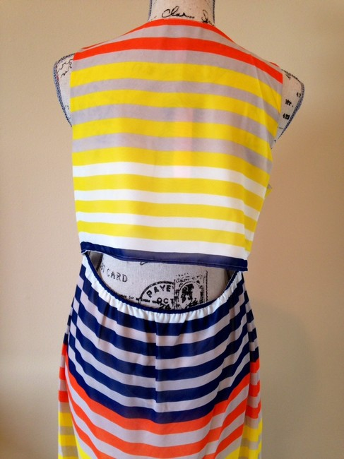 Blue, White, Yellow, Orange Maxi Dress by Romeo & Juliet Couture New Semi Backless