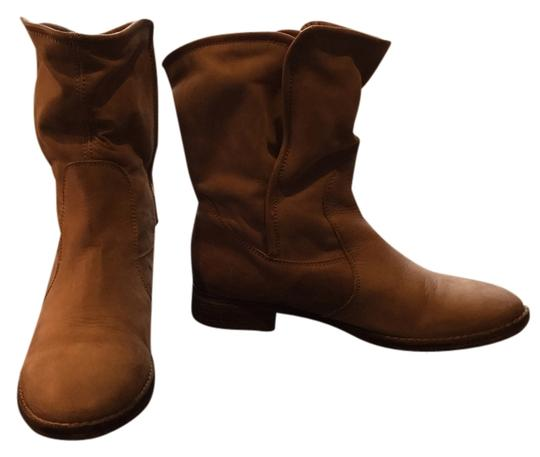 Sixtyseven Leather Suede Wood Heel Tan Boots
