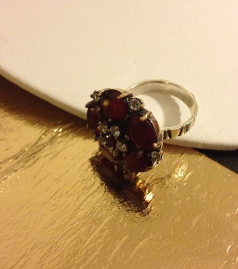 Other Silver Red Flower Ring Size 8.75