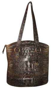 Brahmin Vesuvius Emobossed Leather Crocodile Metallic Shoulder Bag