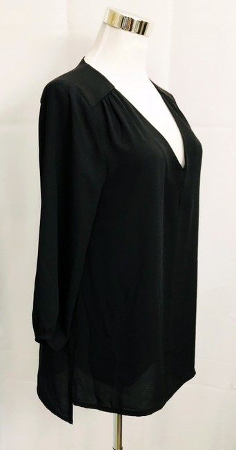 H&M V Neck Hi Lo Hem 3/4 Sleeve V Neck Top Black Image 1