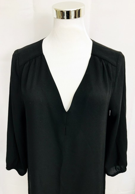 H&M V Neck Hi Lo Hem 3/4 Sleeve V Neck Top Black Image 2