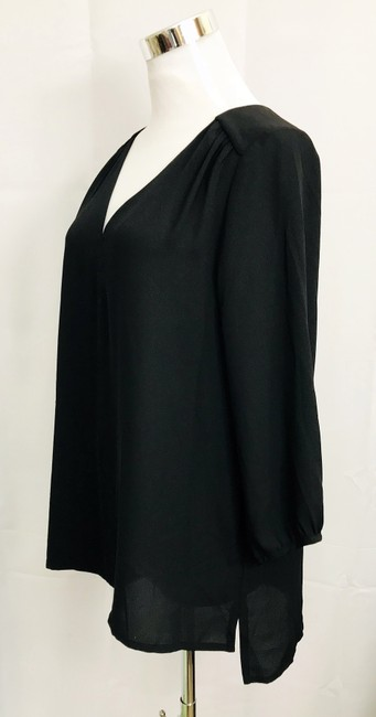 H&M V Neck Hi Lo Hem 3/4 Sleeve V Neck Top Black Image 3