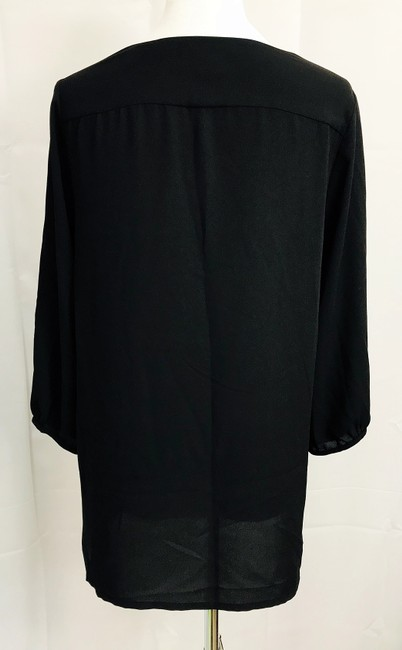 H&M V Neck Hi Lo Hem 3/4 Sleeve V Neck Top Black Image 4