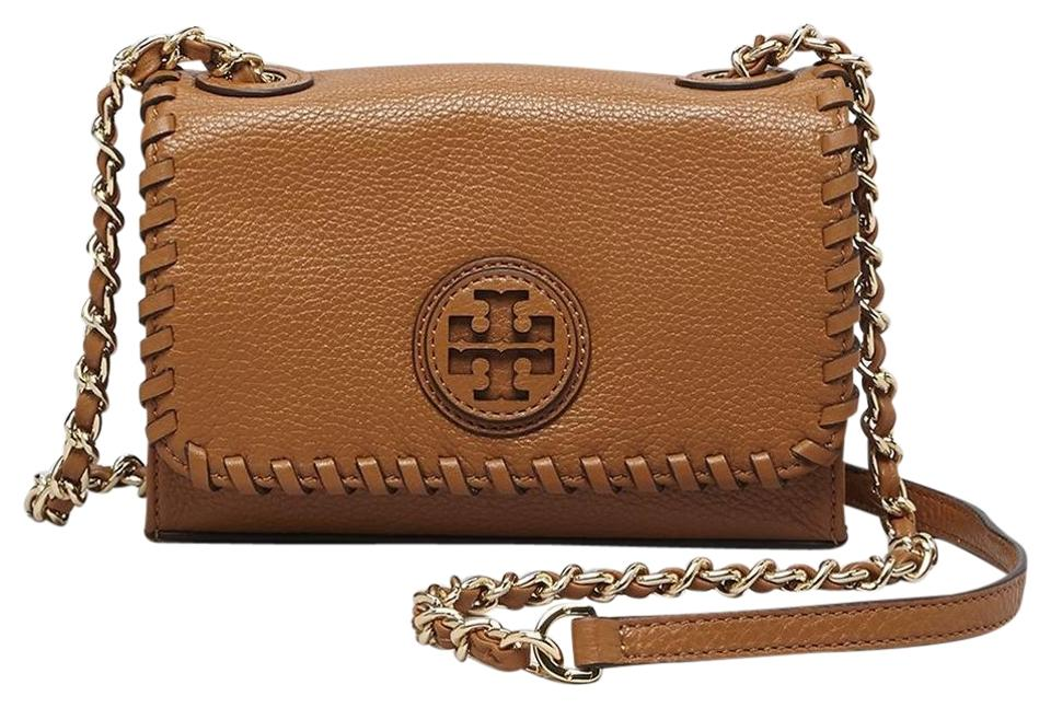 56135228c6aa Tory Burch Marion Shrunken Bark Leather Shoulder Bag - Tradesy