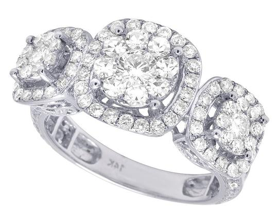 Jewelry Unlimited 14K White Gold Diamond Three Cluster Engagement Ring 2.5 CT 11MM Image 3