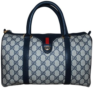 Gucci Made In Italy Accessory Collection Monogram Vintage Leather Tote in Blue