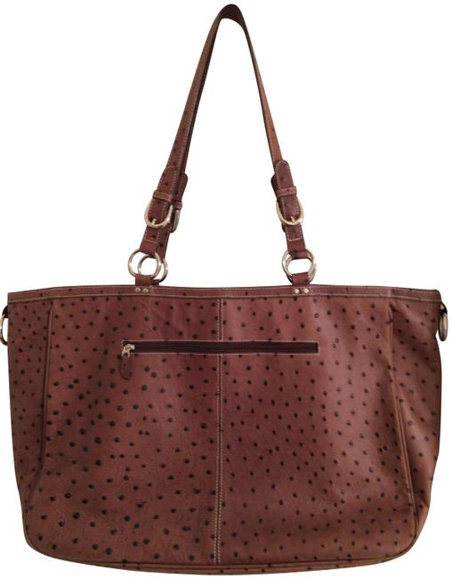 Item - Mocha Ostrich Embossed Leather Tote