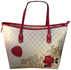 Gucci Tote in Red Off White Blue And Green