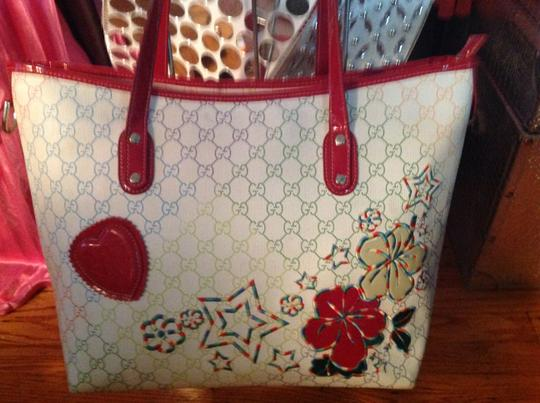 Gucci Tote in Red Off White Blue And Green Image 2