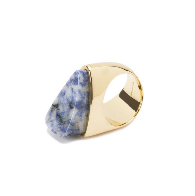 Item - Gold/Purple-blue Bettina Triangle Stone Ring
