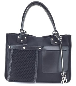 Bally Canvas Leather Hobo Tote in black