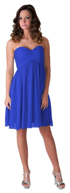 Preload https://item1.tradesy.com/images/blue-strapless-sweetheart-pleated-bust-chiffon-knee-length-cocktail-dress-size-2-xs-2240305-0-0.jpg?width=400&height=650
