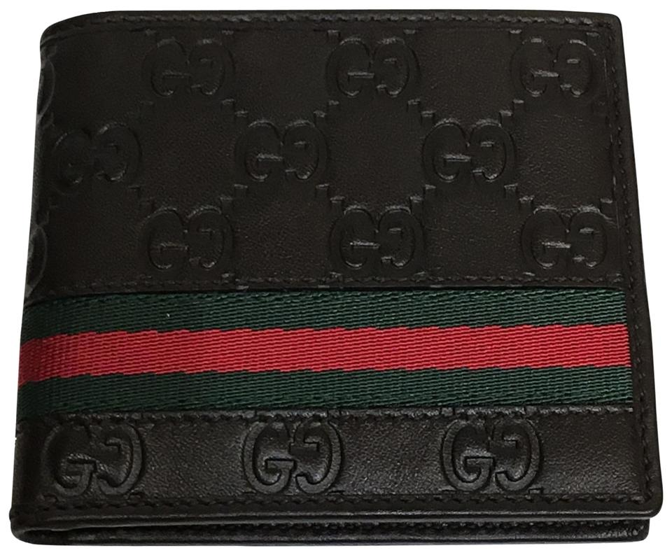 44165b7b85c Gucci Dark Brown Men s Gg Supreme Web Stripe Bi-fold Leather 138042 Wallet