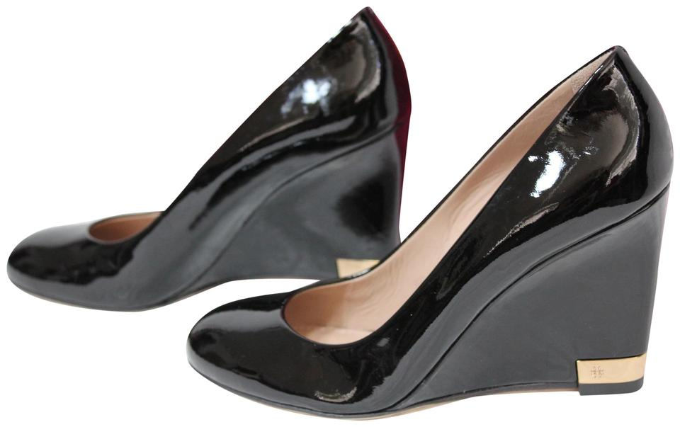 Tory Burch Wedges Black Patent Leather 90mm Wedges Burch Work Office Heels Pumps 8a96f9