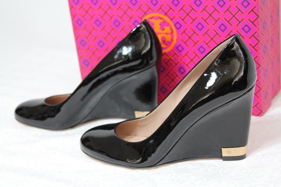b475be7d99fd5b Tory Burch Patent Leather Work Office Wedge Holiday Black Pumps Image 10.  1234567891011