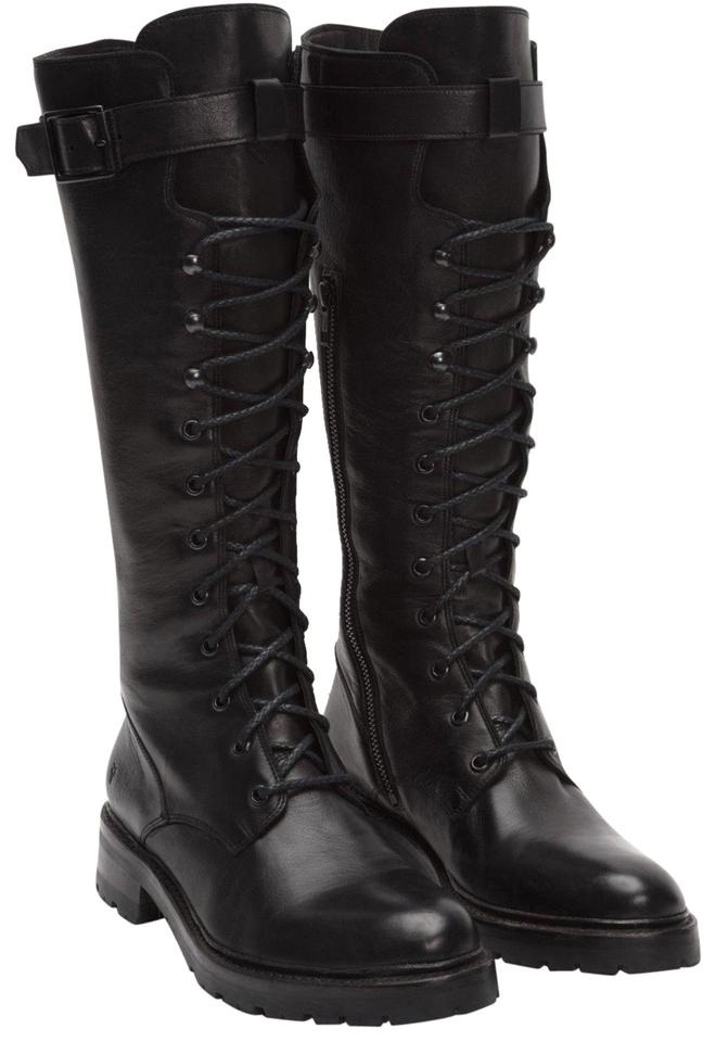 e93f724cc40 Frye Black Julie Tall Combat Lace Up Boots/Booties Size US 5.5 Regular (M,  B)