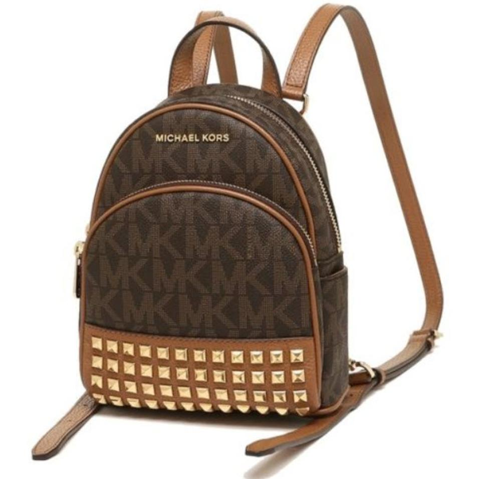 51600c79ced5b1 Michael Kors Abbey Xs Signature Crossbody Brown Acorn Leather Canvas ...