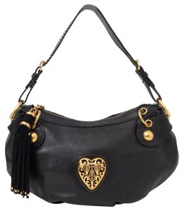 a0da072a60c Gucci Babouska Heart Shoulder Handbag Black Leather Hobo Bag - Tradesy
