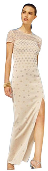 Item - Pale Gold New Large Evening Rhinestone Embellished Long Night Out Dress Size 14 (L)