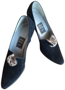 Sergio Zelcer Couture Suede Leather Vintage Animal Print Black Pumps