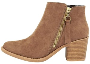 Lulu*s Vegan Suede Heeled Taupe Boots