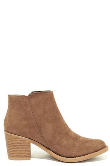 Lulu*s Vegan Suede Heeled Taupe Boots Image 1